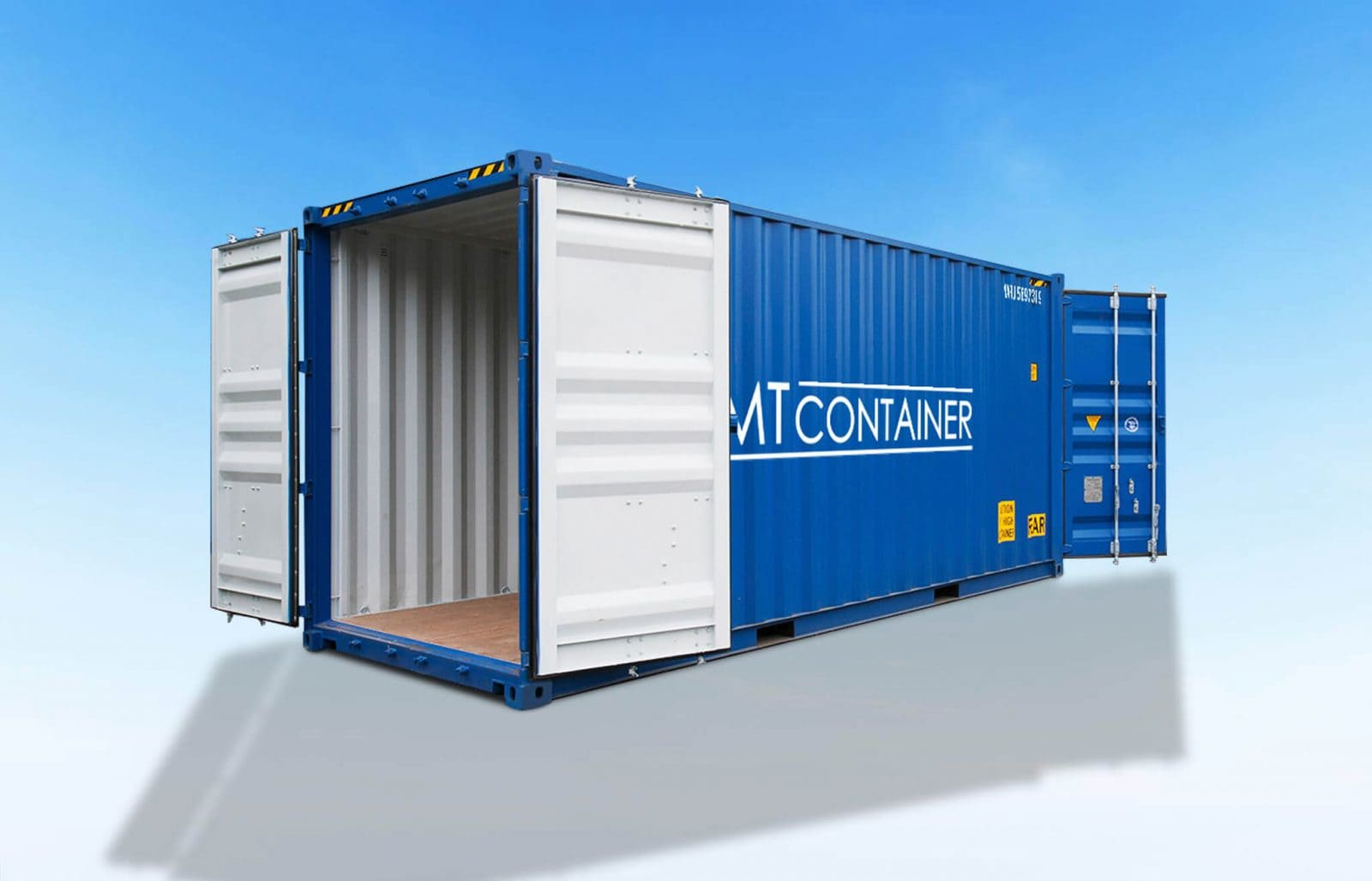 Blauer Seecontainer mit offenen Türen hinten und vorne.