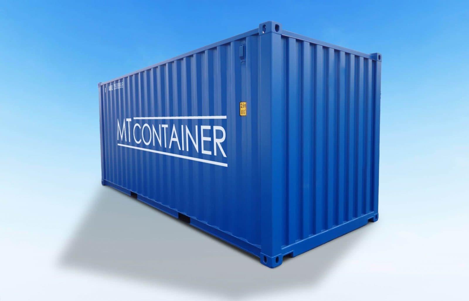 Blauer Seecontainer geschlossen.