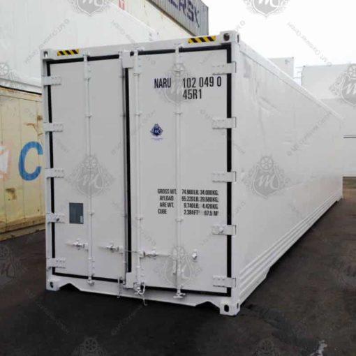Weißer Kühlcontainer NARU 102049-0 mit geschlossenen Türen.