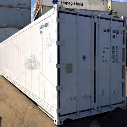 Weißer Kühlcontainer NARU 104888-3 von vorne.