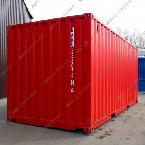 Ein roter 20 Fuss Seecontainer.